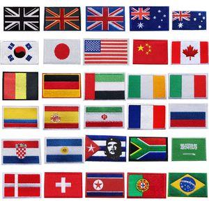 30 Ülkeler İşlemeli Ulusal Bayraklar Yamalar diker Demir On Rozetleri ABD İngiltere AU İçin Çanta Kot Şapka Tişörtlü DIY Aplikler Craft Dekor