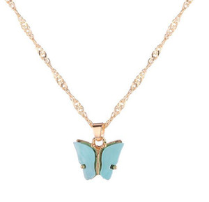 Japan And South Korea Sweet Butterfly Necklace Acrylic Color Sweet Beauty Wild Wild Clavicle Chain Personality Lady Necklace
