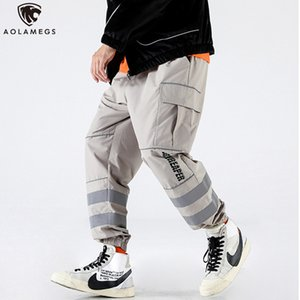 Aolamegs Cargo Pants Men Color Block Pockets Striped Printed Sweatpants Men Hip Hop Hipster Loose Fashion Jogging Pants Trousers