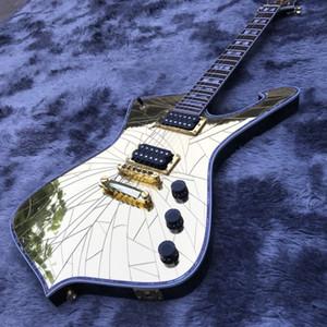 Personalizado Grande ouro rachadura Espelho Paul Guitarra Ice Man Branco Encadernação guitarra elétrica Musical Instruments loja