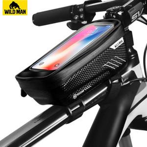 WILD MAN Touch Screen Bike Bag Rainproof Bicycle Handlebar Bag 5.8 6.0 Inch Phone Case Cycling Top Tube Bag Accesories MX200717
