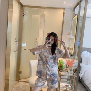 Summer Ice Silk Pajama Set for Women Concise Style Short Sleeve Sleepwears Thin Light Silk Nightdress for Women