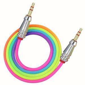 1m Câble audio 3,5 mm à 3,5 mm arc-en-bambou Cuivre Shell Aux Câble mâle à mâle voiture Aux Cordon pour iPhone Samsung Xiaomi