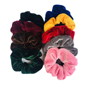 Hot Sale Golden velvet cloth large intestine ring hair Scrunchies HeadbandTies Elastic Hair Bands Girls Ponytail Holder Trendy Hair ljja5400