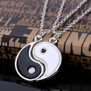 Эмаль сплетня Инь Ян ожерелье для женщин Lovers ожерелья Лучших друзья BFF NecklacePendants Пар спаренного Choker Collier нового