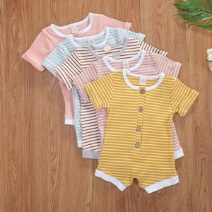 Cotton Baby Rompers Clothes Solid Jumpsuit Striped Outfits Set Little Baby Girls Boys Roupa Toddler Button Playsuits