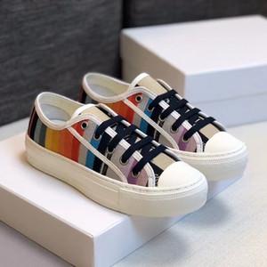 2020 Fashion Girls Walk'n scarpa da tennis multicolore Oblique ricamo Lace-up Sneakers Canvas Ballerine addestratori correnti delle donne Outdoor Scarpe EU40