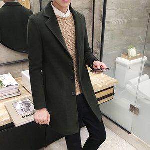 2020 Kış Erkek Slim Fit Tek Breasted Uzun Ceket Pembe Yeşil Yün Kumaş Uzun Hendek Günlük Orta uzun Dış Giyim Plus Size