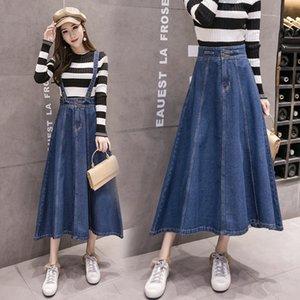 2019 otoño nueva desmontable correa de denim skirtShoulder correa de denim falda mitad de la longitud fresca gran paraguas falda media vuelta y moda