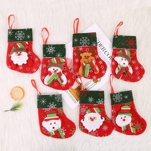 Thick Suede New Christmas Stocking Christmas Tree Ornaments Christmas Gifts Bag Cartoon Elements Santa Claus, Snowman, Reindeer And Bear