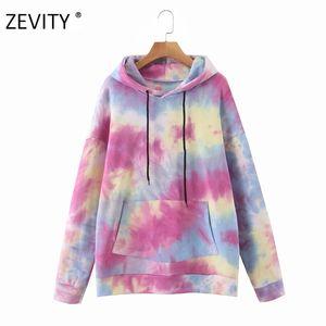 Zevity Frauen Vintage-Bindung gefärbter Damen beiläufige lose mit Kapuze sweatershirts drucken lange Armtaschen Pullover schicke Pullover Tops H352