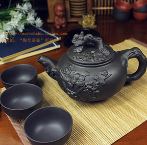 Hot Sale Teapot Chinese Porcelain Yixing Zisha Tea Pot 400ml + 3 Cups 60ml Kung Fu Tea Set Teapots Handmade Zisha Ceramic Kettle