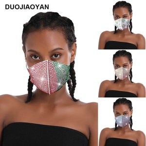 Navel beautiful new dust drill flash drill white polyester cloth drill mask fashion party custom spot wholesale women designer mask