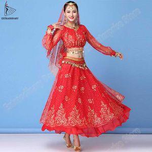 Costume Vestido Bollywood Mulheres Set Dança Sari Belly Dance Outfit Roupas Desempenho Chiffon Top + cinto + Skirt
