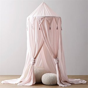 New kid Baby Bed Canopy Bedcover Mosquito Net Curtain Bedding Round Dome Tent Cotton for Baby Room Decoration Pink 2019