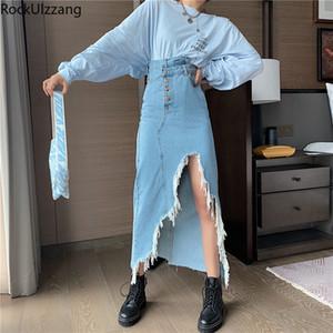 Rockulzzang High Waist Sexy Midi Long Ripped Furry Tassel Hem Denim Skirt Streetwear Korean Women Harajuku Summer Jeans A-Line