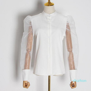 2020 RoosaRosee Fashion Designer Women Spring 2020 Round Neck Mesh Patchwork Puff Sleeve White Shirt Top Female Blouse Clothes