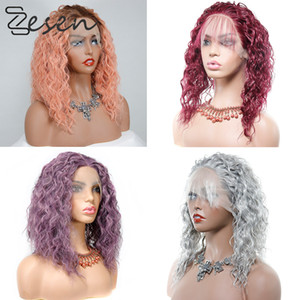 Zesen Synthetic Lace Front Wigs Kinky Curly Wig for Women Ombre Color Available Black Natural Afro High Temperature