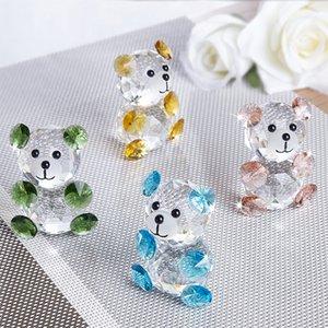 H&D Handmade X'mas Gift 3D Crystal Bear Figurines Miniatures 4pcs Glass Animal Ornament Craft Souvenir Home Decor Wedding Favors T200709