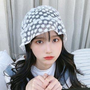 J41QZ female Korean style fashion Bucket toque lace women's temperament lace sun fisherman hat female light sun screen red breathable fairy