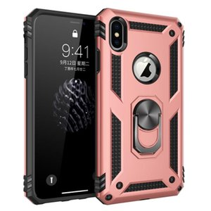 Shockproof Armor Case For iPhone X 7 8 6s Magnetic Metal Ring Holder Stand Phone Cover Coque for iphone and samsung A20 A50 S20u