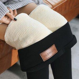Black Warm Pants Winter Skinny Thick Velvet Wool Fleece Girls Leggings Women Trousers Lambskin Cashmere Pants For Women Leggings