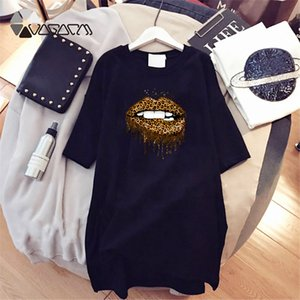 Taglie comode shirt manica corta stampa delle donne di fai da te abiti leopardo di modo casuale ragazze Bocca modello Trendy Diy girocollo Dress D001A829