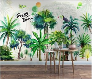 3D ceiling murals wallpaper custom photo Nordic modern small fresh hand painted tropical plant forest homedecor wallpaper for walls 3 d