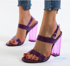 Мода-Плюс Размер 35 40 41 42 Фиолетовый ПВХ прозрачный Коренастый каблуках сандалии женщин Летняя обувь Оранжевый Серебро 12см