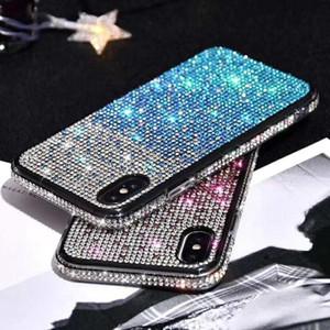 럭셔리 블링 그라데이션 다이아몬드 케이스 삼성 S20 S10 Note10 아이폰 XR XS (11) 프로 맥스 커버 패션 Gilitter 라인 석 크리스탈 전화 케이스