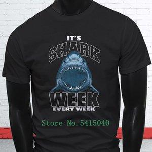 2019 engraçado Hot Sale da mordida do tubarão preto T-shirt dos homens Shark Week Ocean Beach Surfer Moda
