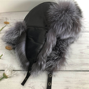Унисекс Real Silver Fox Fur Hat Русский ушанка Зимний Теплый Aviator Ловец Bomber Ski Earmuffs Cap