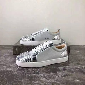 new color design fashion luxury men's red bottom shoes spiked low-top casual leather sneakers men's wedding banquet dress