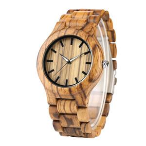 YISUYA Nature Stripe bois montre-bracelet Simple Homme Bamboo WoodenLeather Band Montres unisexe Horloge Heure cadeaux pour Noël