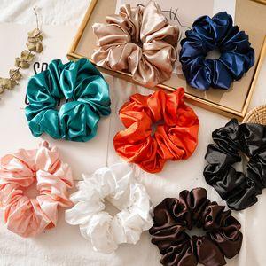 Büyük Boy Parlak Renk Saç Scrunchies Kadınlar İpek Scrunchie Elastik Saç Bantları Kızlar Şapkalar Donut Tutma Döngü at kuyruğu Tutucu