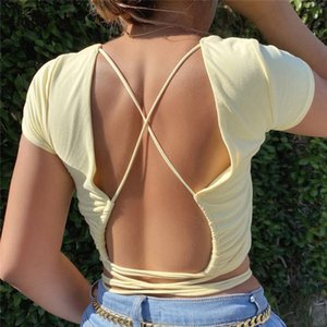 Nadafair Backless Bandage Sexy Tops Women 2020 O Neck Solid Short Sleeve Short T Shirt Basic Summer Crop Tops