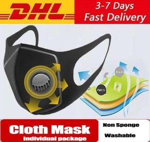 Máscara dos EU Stock Anti poeira com a respiração PM2.5 válvula Filtros Máscaras Ciclismo rosto boca de algodão Respirador lavável reutilizável Anti embaçamento Adulto