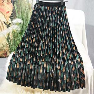 2020 Automne Femme Jupes Vintage Graffiti imprimé velours plissé jupe plissée taille élastique Femmes Jupes longues Femme Jupes