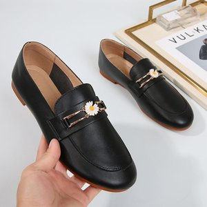 Fairy Daisy soft leather loafers women espadrilles bullock shoes women flower add cashmere oxfords woman flats large size 34-43