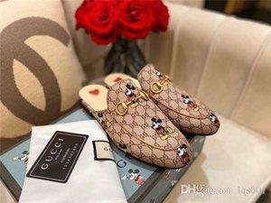 hot women designer luxury slipper fashion casual shoes classic sandal Genuine Leather monogram pantoufle GUC 2216 size 35-40 with box