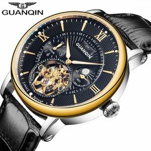 GUANQIN Luxury Top Brand Tourbillon Skeleton Wristwatch Men Fashion Casual Leather Automatic Mechanical Watch Relogio Masculino