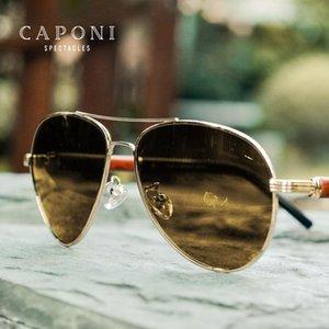 CAPONI visión nocturna de los hombres gafas de sol polarizadas fotocromáticas patas de madera Piloto de conducción vidrios del ojo Hombre UV Protect BSYS409