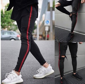 Mens Distressed Washed Denim Jeans Side rote gestreifte dünne zerrissene Bleistift-Hosen-Holes gewaschene Jeans Male Fashion Zipper Design Long Trouse p45W #