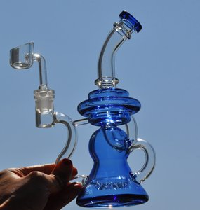Blue Glass Water Bongs Heady Glass Oil Rigs Smoke Cigareete Accessories Glass Oil Burner Pipe Hookahs Bong Recycler Rigs With 14mm banger