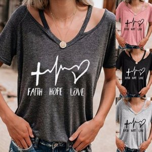 Mulheres Verão Fé Letras do amor da esperança impressão da camisa T Sexy Pescoço V manga curta Top para as Mulheres