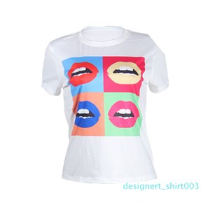 1Colorful Lips Printed Womens Tshirts Casual Crew Neck White Tees Summer Versatile Matching Short Sleeve Tops d03