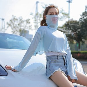 women 2020 new UV-proof breathable Ice shawl clothes Silk sunscreen clothes short long-sleeved sunscreen shawl