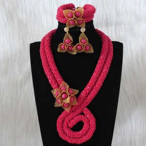 URORU Fuchsia Necklace Set With Gold African beaded Flowers Earrings and Bracelet Jewellery Set For Women 2020 Fine Jewelry Set T200507
