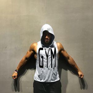 Bodybuilding Hooded Tank Tops Men Gym Fitness Sleeveless Sweatshirt Hoodie Summer Casual Fashion Vest Crossfit Clothing