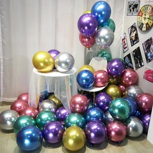 Latex Métal 50pcs Or Argent Noir Ballons de mariage Décorations Matte Helium Globos Birthday Party Decoration adulte